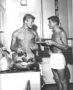 Tab Hunter & Roddy McDowell in the kitchen