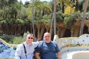 Dave and Ed at Gaudi Park in Barcelona